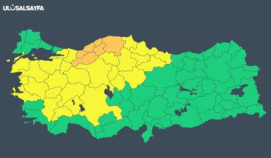 Meteoroloji'den 22 il için sarı, 6 il için turuncu uyarısı