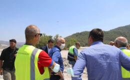 Muğla Milas'taki termik santrallerine yangın sonrası inceleme